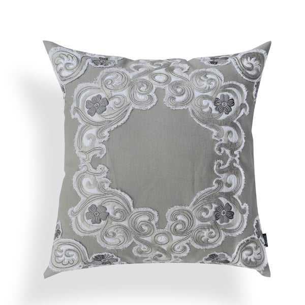 Bernadette Grey Embroidered Applique 20-inch Pillow