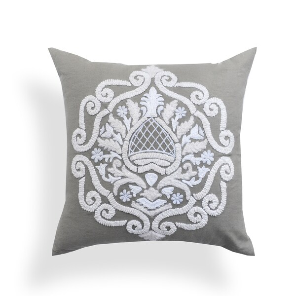 Brigid Grey Baroque 20-inch Pillow