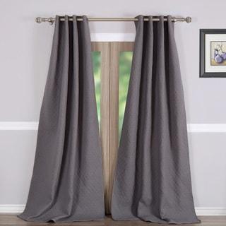 Vashon Grey Quilted Curtain Panel Pair