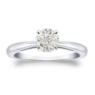 Auriya Platinum 1/2ct TDW Round-cut Diamond Solitaire Engagement Ring (J-K, I1-I2)