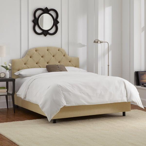 Skyline Furniture Sandstone Linen Tufted Bed
