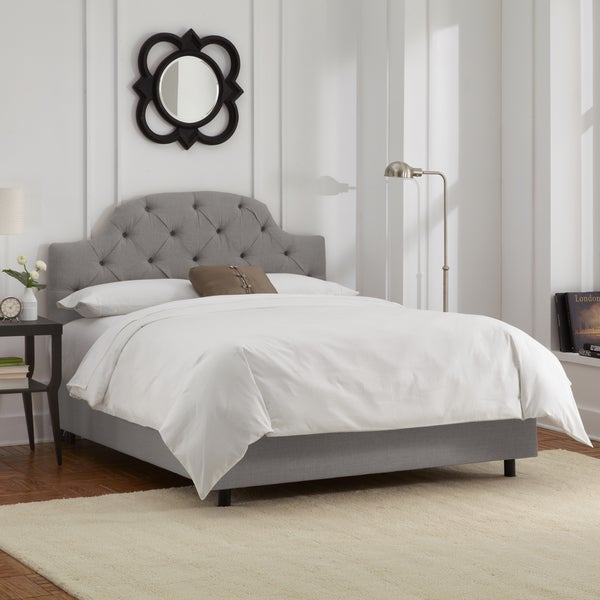 Skyline Furniture Grey Linen Tufted Bed
