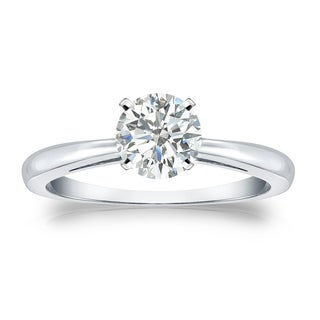 Auriya Platinum 3/4ct TDW Round-cut Diamond Solitaire Engagement Ring (I-J, SI1-SI2)