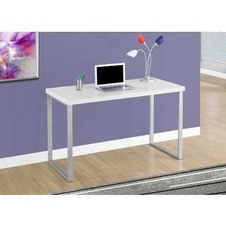 "Computer Desk-48""L/White/Silver Metal"