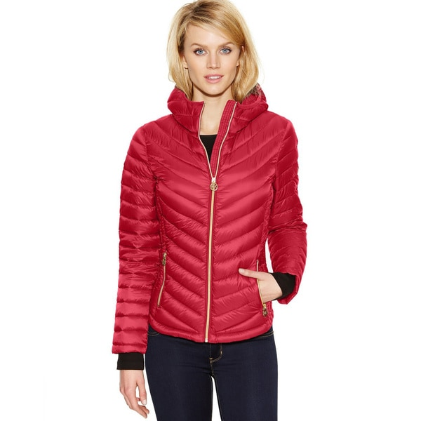 Michael Michael Kors Red Hooded Packable Jacket