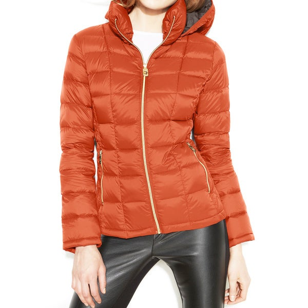 Michael Michael Kors Orange Hooded Packable Jacket
