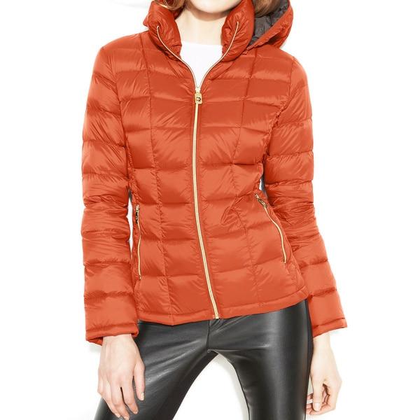 Michael Michael Kors Orange Hooded Packable Jacket