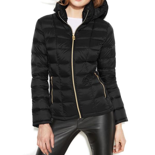Michael Michael Kors Black Hooded Packable Jacket