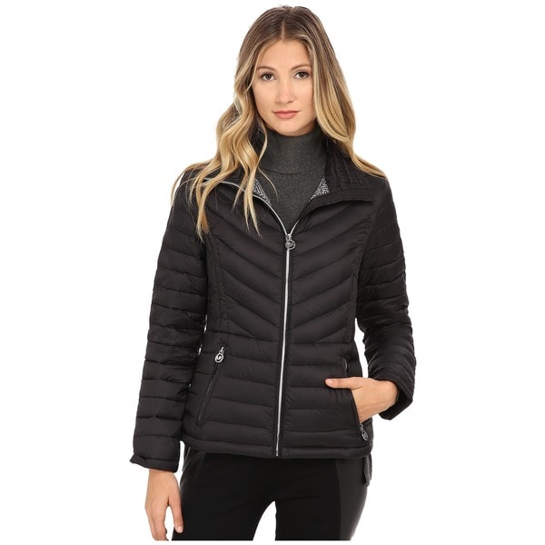 Michael Michael Kors Black Chevron Quilted Packable Jacket (Size XS)