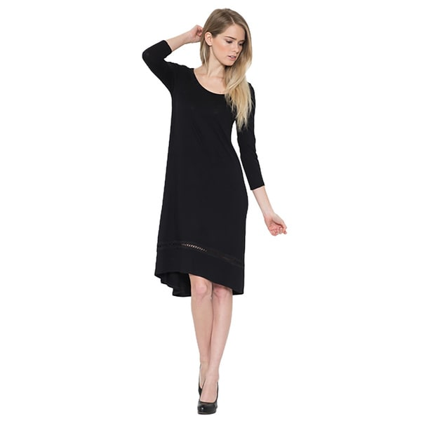 JED Women's Soft Comfy 3/4 Sleeve Asymmetric Midi Dress