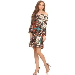 MOA Collection Women's Tribal Print 3/4 Sleeve Dress