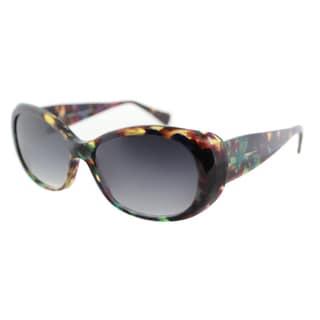 Lafont Piana 7036 Violet Havana Plastic Oval Grey Gradient Lens Sunglasses