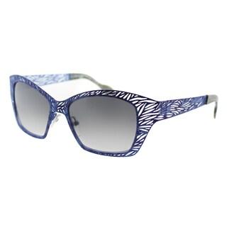 Lafont Lome 378 Blue Violet Metal Cat Eye Grey Gradient Lens Sunglasses