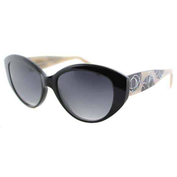 Lafont People 100 Black Plastic Cat Eye Grey Gradient Lens Sunglasses