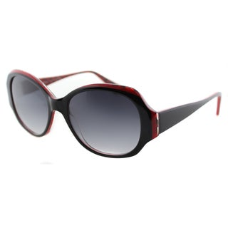 Lafont Polynesie 188 Black And Red Oval Grey Gradient Lens Sunglasses