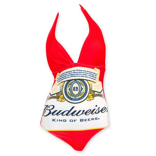 Budweiser Women's Red One Piece Logo Swimsuit