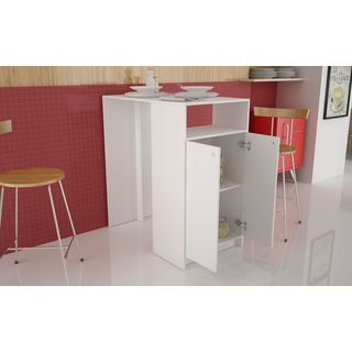 Accentuations by Manhattan Comfort Beautiful Sleek Boon Bar Table with 3-shelves in White