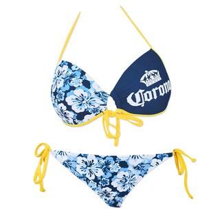 Corona Extra Women's Push Up Sweet Heart Bandeau String Bottom Floral Bikini