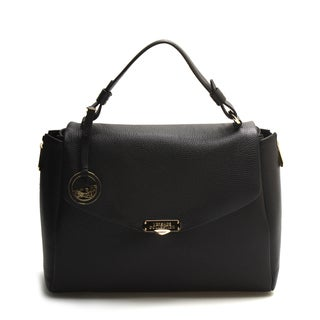 Versace Collection Black Leather Small Crossbody Satchel