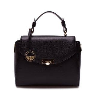 Versace Collection Black Pebbled Leather Satchel Bag