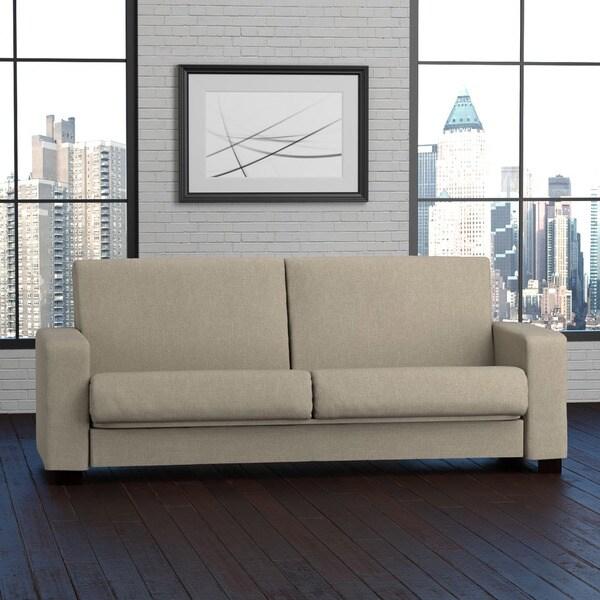 Portfolio Tempo Convert-a-Couch Barley Tan Linen Futon Sleeper Sofa