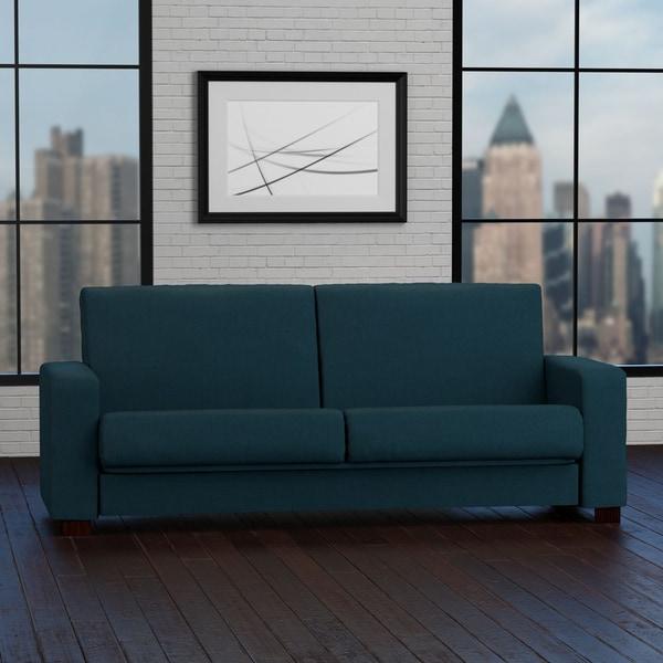 Portfolio Tempo Convert-a-Couch Peacock Blue Linen Futon Sleeper Sofa