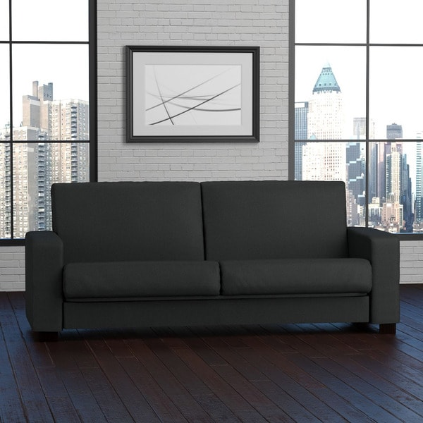 Portfolio Tempo Convert-a-Couch Midnight Black Linen Futon Sleeper Sofa