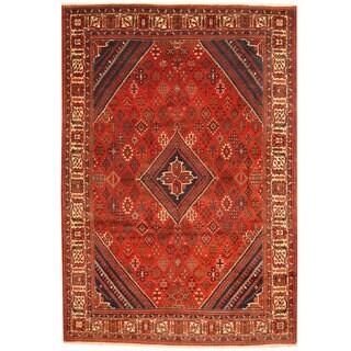 Herat Oriental Persian Hand-knotted 1960's Semi-antique Joshegan Red/ Ivory Wool Rug (8'2 x 12')