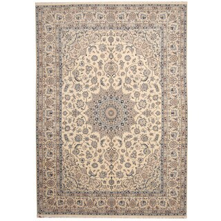 Herat Oriental Persian Hand-knotted Nain Ivory/ Blue Wool and Silk Rug (8'2 x 11'8)