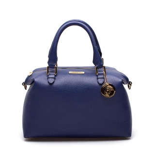 Versace Collection Blue Leather Duffel Shoulder Bag