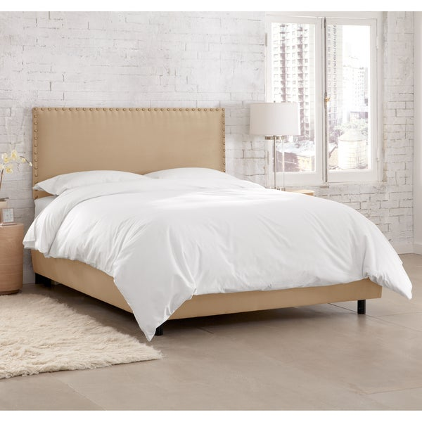 Skyline Furniture Premier Oatmeal Nail Button Border Bed