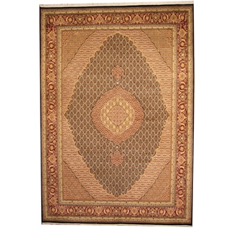 Herat Oriental Pakistani Hand-knotted Tabriz Black/ Red Wool & Silk Rug (9'1 x 12'2)
