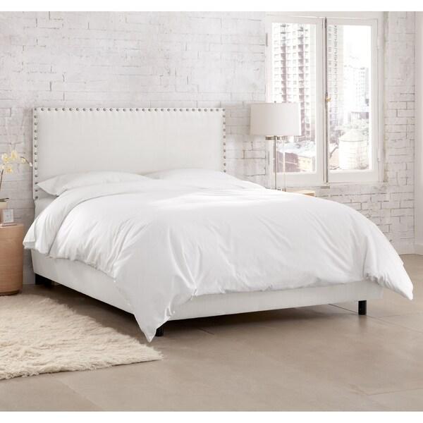 Skyline Furniture Premier White Nail Button Border Bed