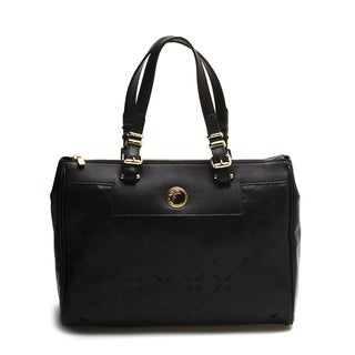 Versace Collection Black Laser Cut Leather Tote