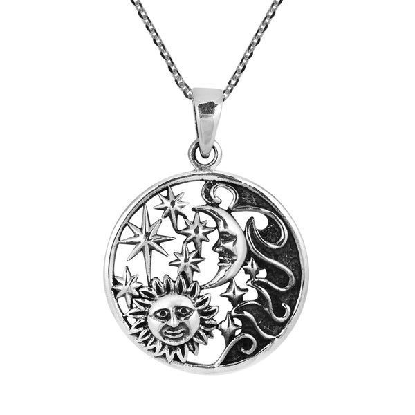 Celestial Amulet Sun Moon and Star Sterling Silver Necklace (Thailand)