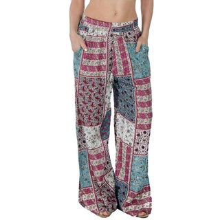 Women's Bohemian Printed Palazzo Pants with Pockets and Bottom Slit