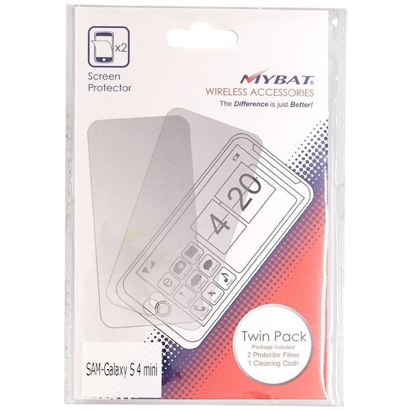 MyBat Screen Protector Twin Pack for Samsung Galaxy S4 Mini Retail Packaging Clear