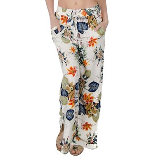 Women's Off-white Bohemian Printed Palazzo Pants with Pockets and Bottom Slit