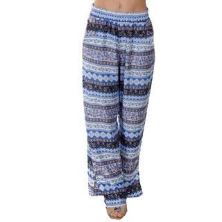 Special One Women's Bohemian Printed Palazzo Pants with Pockets and Bottom Slit