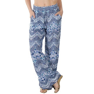 Special One Women's Blue Bohemian Printed Palazzo Pants with Elastic Waistband and Pockets