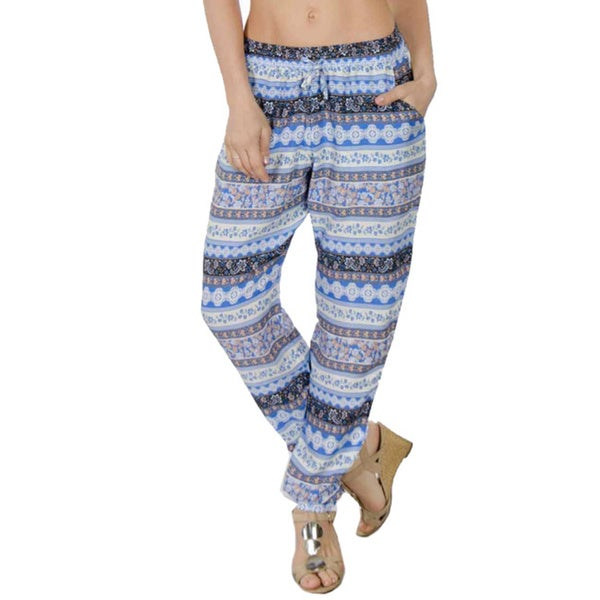 Special One Women's Blue Multi Bohemian Print Jogger Pants with Side Pockets