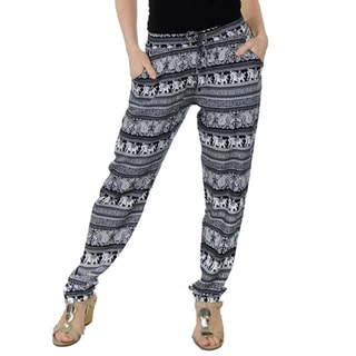 Special One Women's Black Bohemian Print Jogger Pants with Side Pockets
