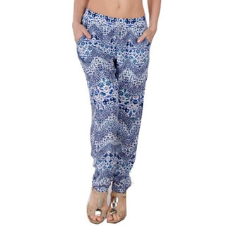 Special One Women's Blue Bohemian Print Jogger Pants with Side Pockets