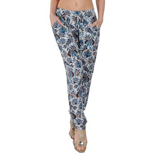 Special One Women's Bohemian Blue Print Jogger Pants with Side Pockets