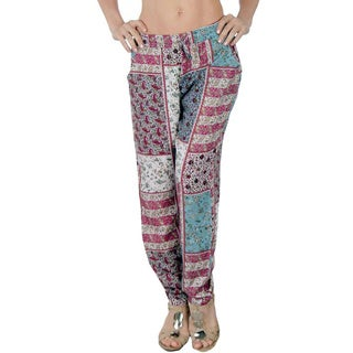 Special One Women's Pink/ Blue Multi Bohemian Print Jogger Pants with Side Pockets