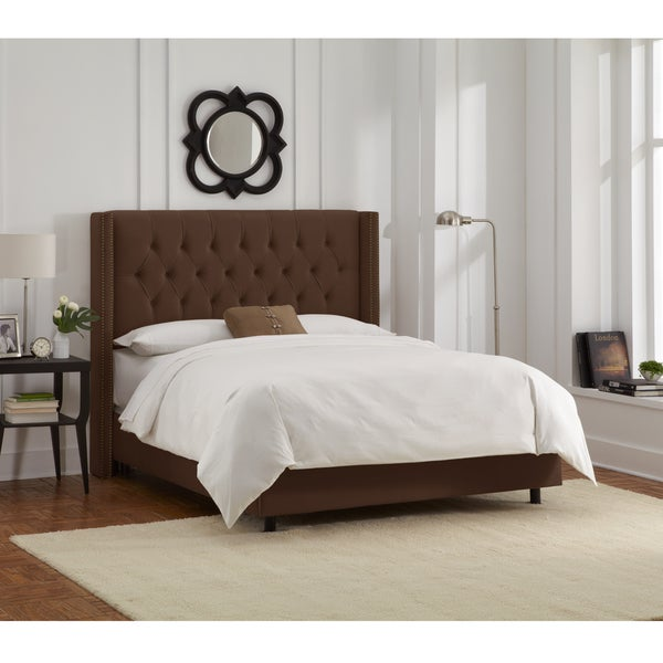Skyline Furniture Chocolate Velvet Diamond Tufted Wingback Nail Bed