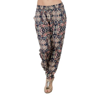 Special One Women's Dark Blue Multi Bohemian Print Jogger Pants with Side Pockets