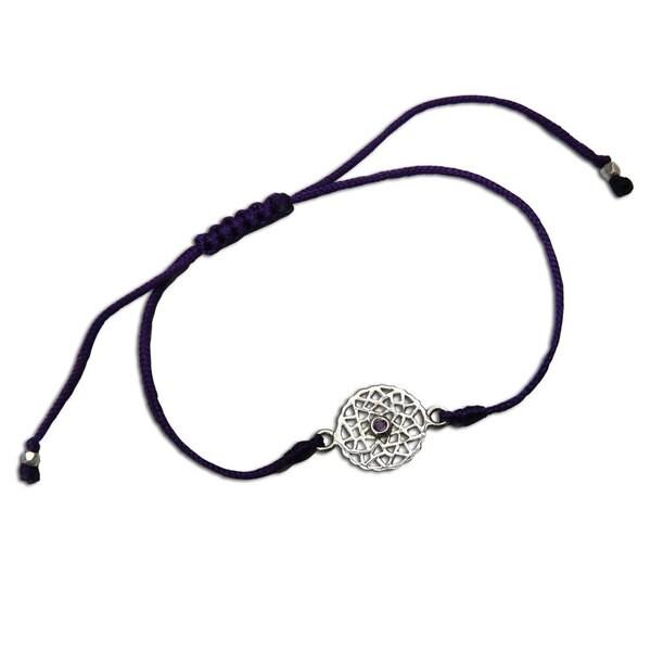 Crown Chakra Purple Adjustable Charm Bracelet (India)