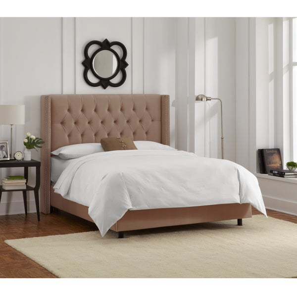 Skyline Furniture Cocoa Velvet Diamond Tufted Wingback Nail Bed