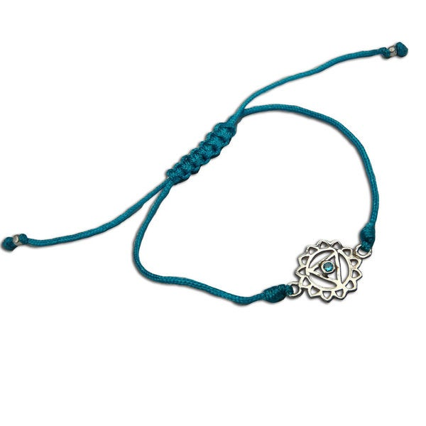 Throat Chakra Turquoise Adjustable Charm Bracelet (India)